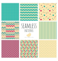 Seamless Colorful geometric background set vector image
