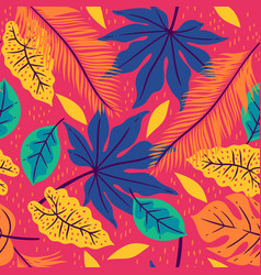 seamless pattern with tropical leaves on a pink vector image