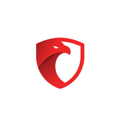 Security shield red eagle logo design template vector