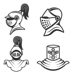 Set of the knight helmets isolated on white vector