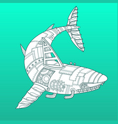 Shark robot color fashion vector