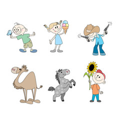six childrens characters vector image