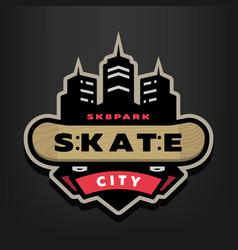 Skateboarding park logo emblem on a dark vector