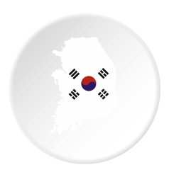South Korea map icon flat style vector