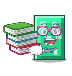 Student with book rectangle mascot cartoon style vector
