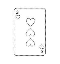 Three of hearts french playing cards related icon vector