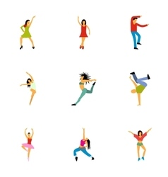Types of dances icons set flat style vector