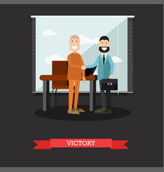 Victory in court case concept vector