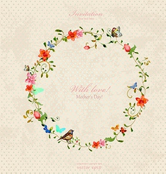 vintage wreath with foliate ornament and flowers vector image