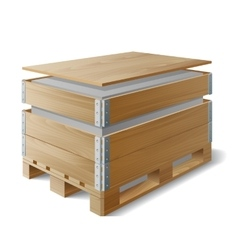 Wooden box with cargo on a pallet vector