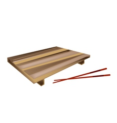 Wooden Geta Plate or Bamboo Sushi Board vector