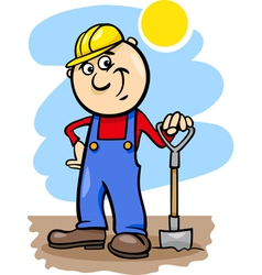 worker with spade cartoon vector image