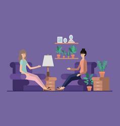 Young women relaxing on livingroom vector