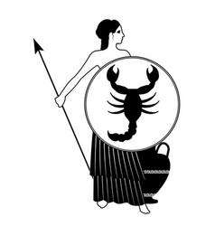 Zodiac in the style of ancient greece scorpio vector