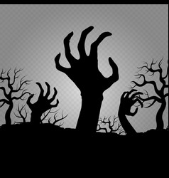 Zombi hands horror for halloween party banners vector