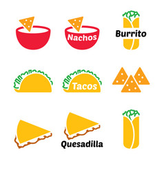 mexican food icon set - tacos nachos vector image