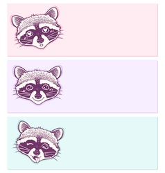 pastel stickers with funny raccoons vector image vector image