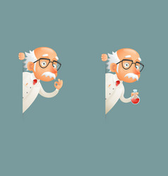 Scientist old wise character look out corner icons vector