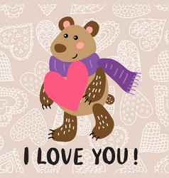 valentine s day greeting card with bear vector image vector image