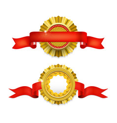 blank golden award medal with ribbon vector image vector image