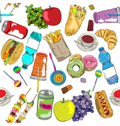 fast food colored pattern vector image vector image