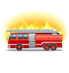 Firetruck in fire vector image vector image