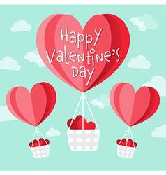 Happy Valentines day heart shaped hot air balloons vector image
