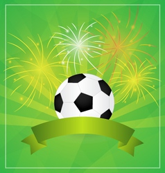 Soccer with Banner and fireworks Background vector image vector image