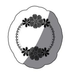 sticker silhouette decorative ornament with vector image