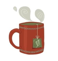 Cartoon cup of tea flat icon vector image vector image