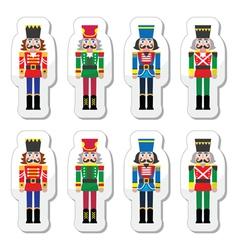 Christmas nutcracker - soldier figurine icons set vector image vector image