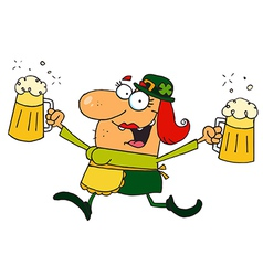 Female Leprechaun Running With Beers vector image vector image