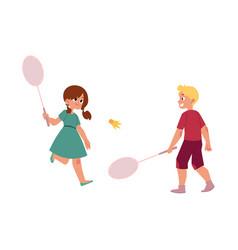 flat children playing badminton shuttlecock vector image