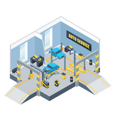 Interior of auto service with different tools and vector
