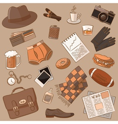 Male things doodle vintage style vector image