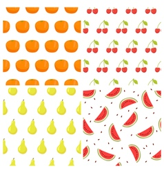 seamless pattern set with fruits Watermelon orange vector image vector image