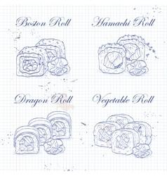 sushi roll sketch vector image vector image