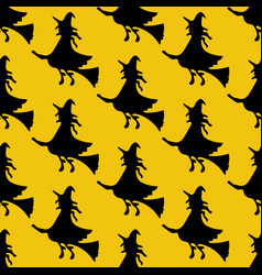 witch on the broom pattern vector image vector image
