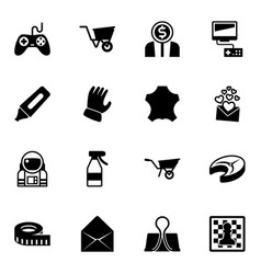 16 object filled icons set isolated on white vector