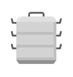 3 tier aluminum chinese steamer icon flat design vector