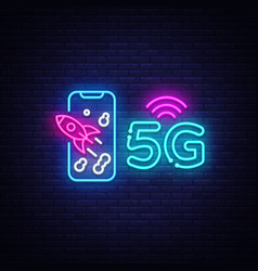 5g new wireless internet wifi connection neon sign vector image