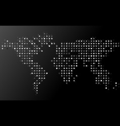 abstract world map of dots on black background vector image
