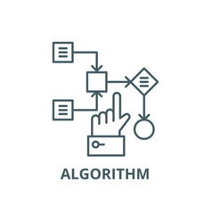 Algorithm line icon algorithm outline vector