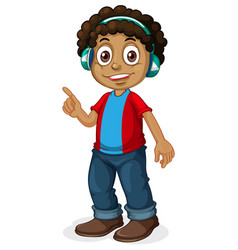an african boy listening to music vector image
