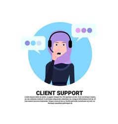 Arab call center headset agent woman client vector