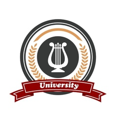 Art university emblem with laurel wreath vector