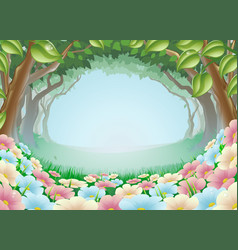 Beautiful fantasy forest scene vector