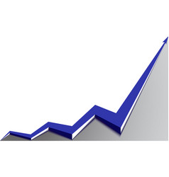 blue arrow graph goes up white background vector image