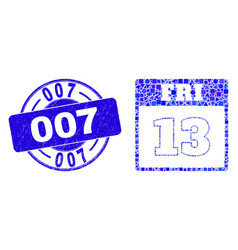 Blue grunge 007 stamp seal and 13th friday vector