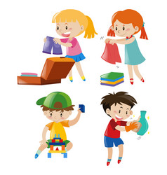 boys and girls in different actions vector image